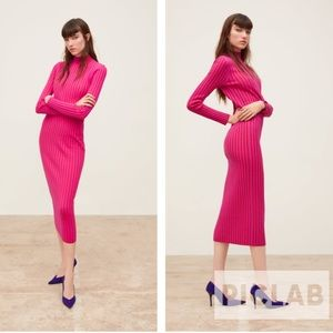Zara fuchsia two tone knit dress